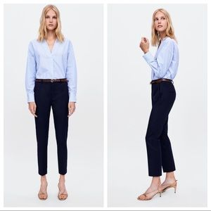 NWOT. Zara Navy Blue Mid-waist Trousers. Size 6.
